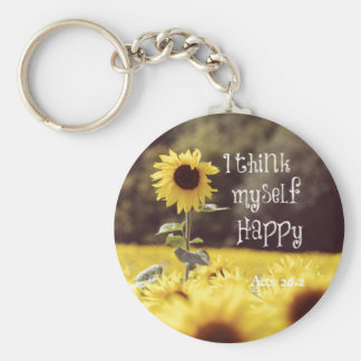 Happy Bible Verse with Sunflowers Key Chains