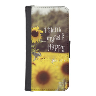 Happy Bible Verse with Sunflowers iPhone 5 Wallets