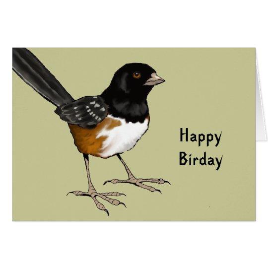 Happy Birday: Pun, Bird Illustration: Birthday Card