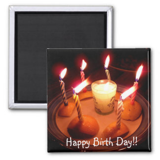 Happy Birth Day txt birthday candles Square Magnet