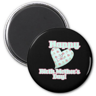 Happy Birth Mothers Day Ribbon Heart 6 Cm Round Magnet