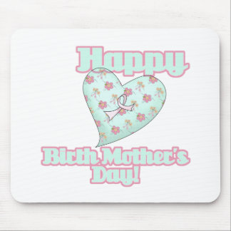 Happy Birth Mothers Day Ribbon Heart Mouse Pad