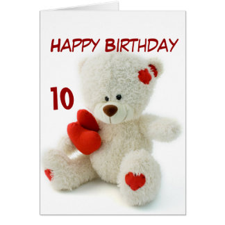 Happy Birthday 10th Teddy Bear Theme Greeting Card