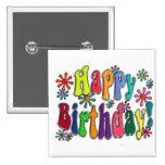 Happy Birthday 15 Cm Square Badge