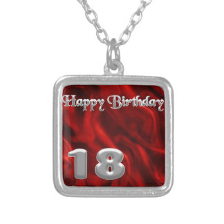 Happy Birthday 18 - red silk Silver Plated Necklace