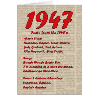 Happy Birthday 1947 Year of birth news 40's 40s Greeting Card