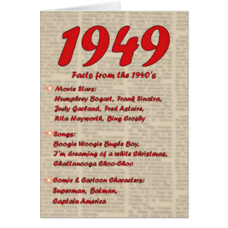 Happy Birthday 1949 Year of birth news 40's 40s Greeting Card