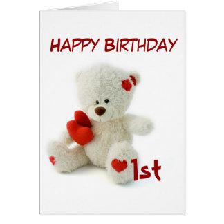Happy Birthday 1st Teddy Bear Theme Card