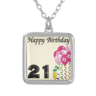 Happy birthday - 21st silver plated necklace