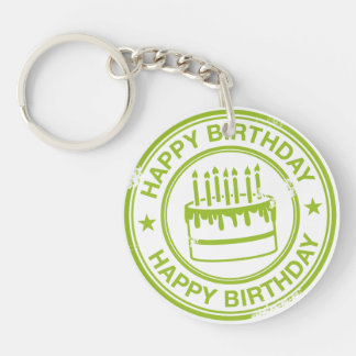 Happy Birthday 2 tone rubber stamp effect -green- Round Acrylic Keychains