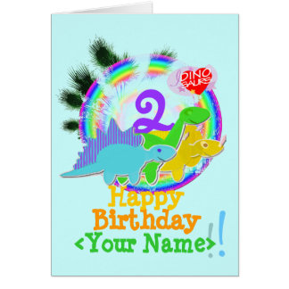 Happy Birthday 2 Years, Your Name Dinos Card