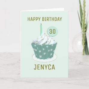 Happy Birthday 30th Birthday Cupcake Card
