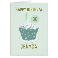 Happy Birthday 30th Birthday Cupcake Card