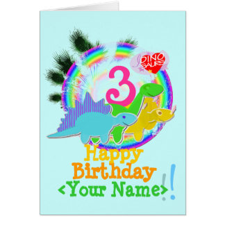 Happy Birthday 3 Years, Your Name Dino Card