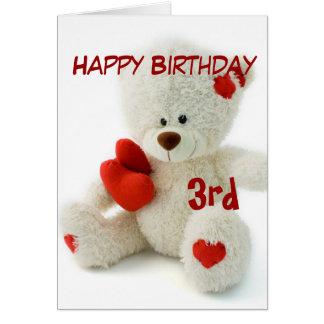 Happy Birthday 3rd Teddy Bear Theme Greeting Card
