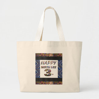 Happy Birthday 3rd Text Jumbo Tote Bag