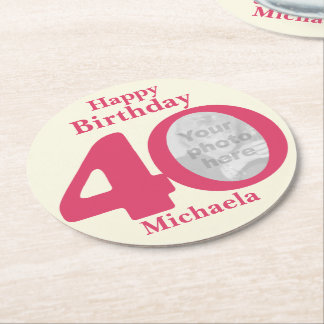 Happy birthday 40 name and photo paper coasters round paper coaster