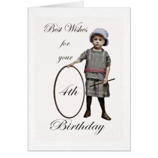 Happy Birthday 4 years old vintage girl and hoop Greeting Card