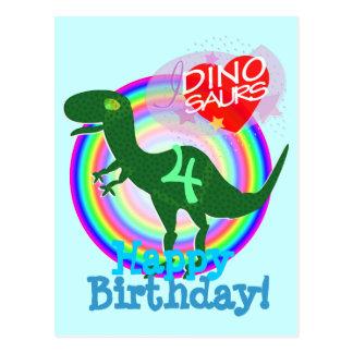 Happy Birthday 4 Years T-Rex Dino Postcard