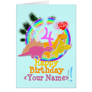 Happy Birthday 4 Years, Your Name Dinos Card