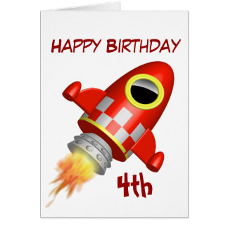Happy Birthday 4th Little Rocket Theme Greeting Card