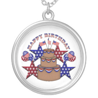 Happy Birthday 4th of July Round Pendant Necklace