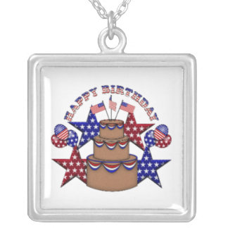 Happy Birthday 4th of July Square Pendant Necklace