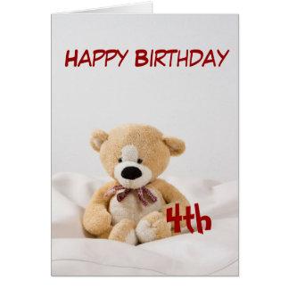 Happy Birthday 4th Teddy Bear Theme Greeting Card