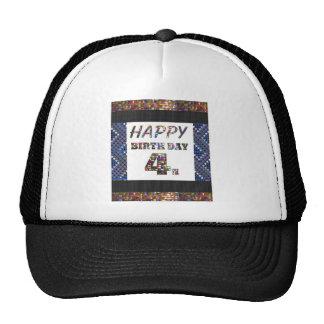 Happy Birthday 4th Text Cap