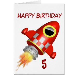 Happy Birthday 5th Little Rocket Theme Cards
