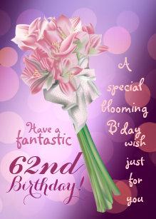 62nd birthday cards zazzle uk happy birthday 62nd pink flowers greeting card m4hsunfo