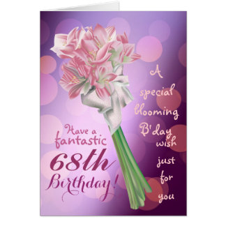 Happy Birthday ! - 68th pink flowers Greeting card