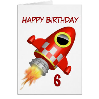 Happy Birthday 6th Little Rocket Theme Greeting Card