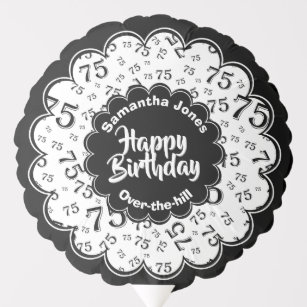 Happy Birthday 75th Black White Party Pattern Balloon