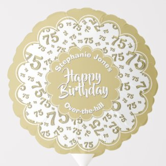 Happy Birthday, 75th Gold/White Fun Party Pattern Balloon