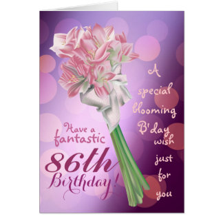 Happy Birthday - 86th pink flowers Greeting card