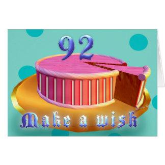 Happy Birthday 92 Pink Cake stripes Birthday Card