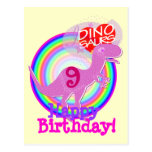 Happy Birthday 9 Years Purple T-Rex Dino Postcard