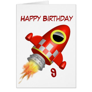Happy Birthday 9th Little Rocket Theme Greeting Cards