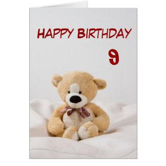 Happy Birthday 9th Teddy Bear Theme Greeting Cards