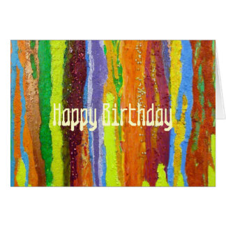Happy Birthday Abstract Art rainbow stripes paint Card