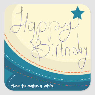 Happy Birthday abstract blue gift seal Square Sticker