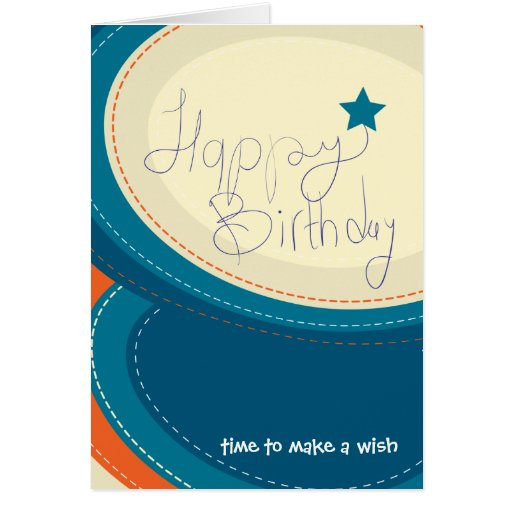 Happy Birthday abstract blue greeting card