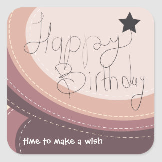 Happy Birthday abstract soft purple gift seal Square Sticker