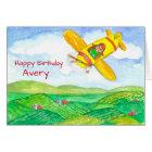 Happy Birthday Aeroplane Custom Name Card