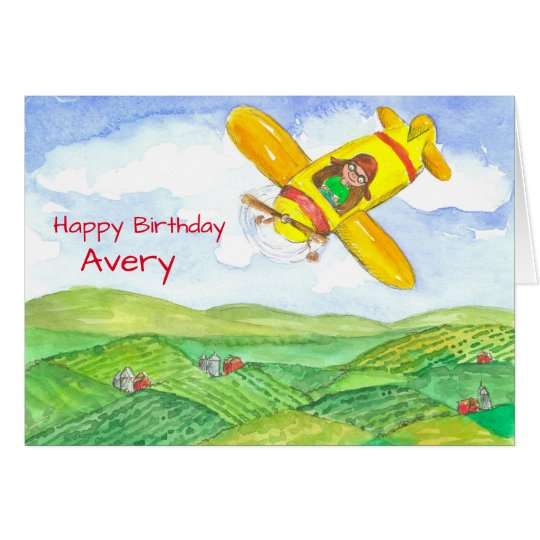 Happy Birthday Aeroplane Custom Name Card