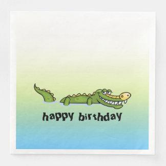 Happy Birthday Alligator Disposable Serviette