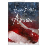 Happy Birthday America-Aged flag Greeting Cards