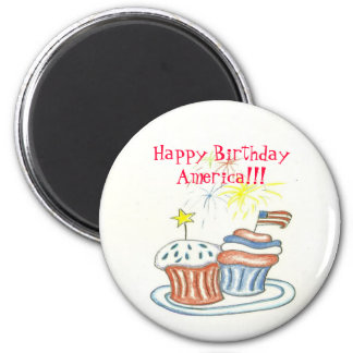Happy Birthday America Button 6 Cm Round Magnet