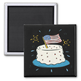 Happy Birthday America Square Magnet
